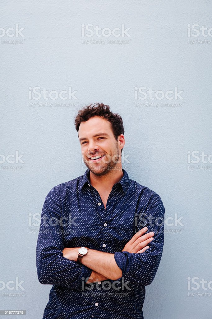 Portrait of a laughing man stock photo