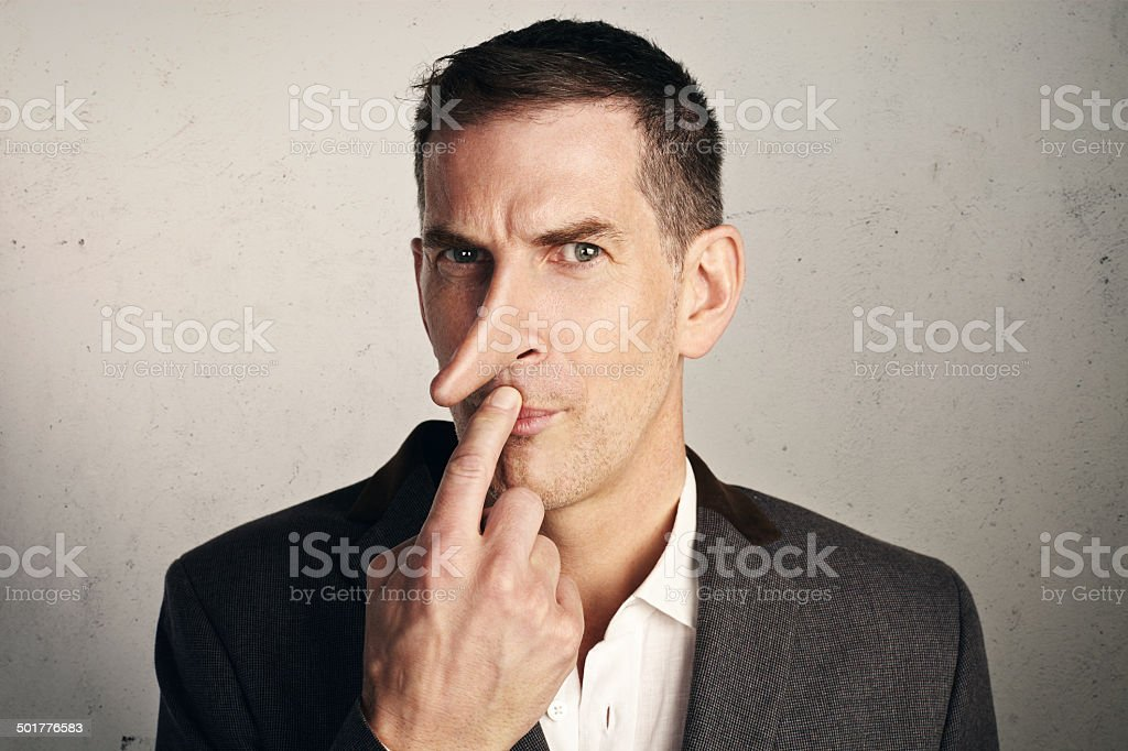Portrait of a liar stock photo