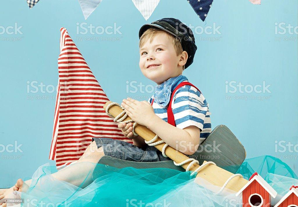 Portrait of a little cute sailor stock photo