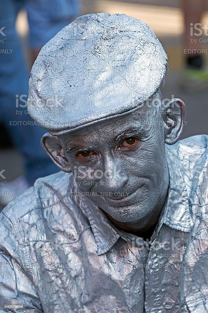 Portrait of a living statue stock photo