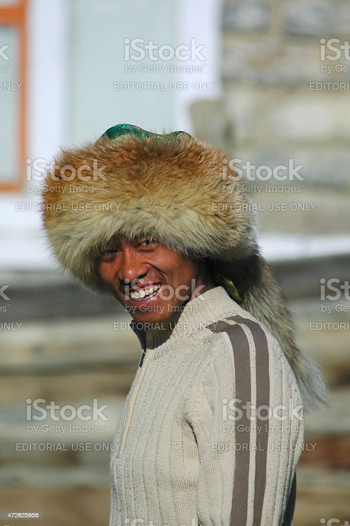 Portrait of a local in the Annapurna's circuit stock photo