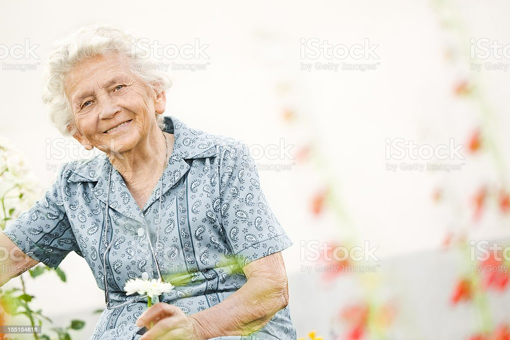 Portrait of a lovely grandma stock photo