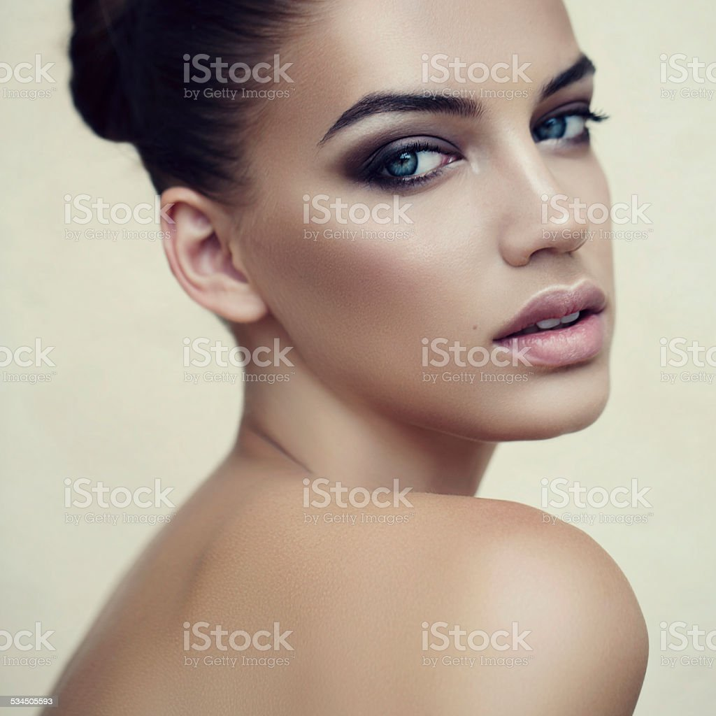 Portrait of a lovely woman stock photo