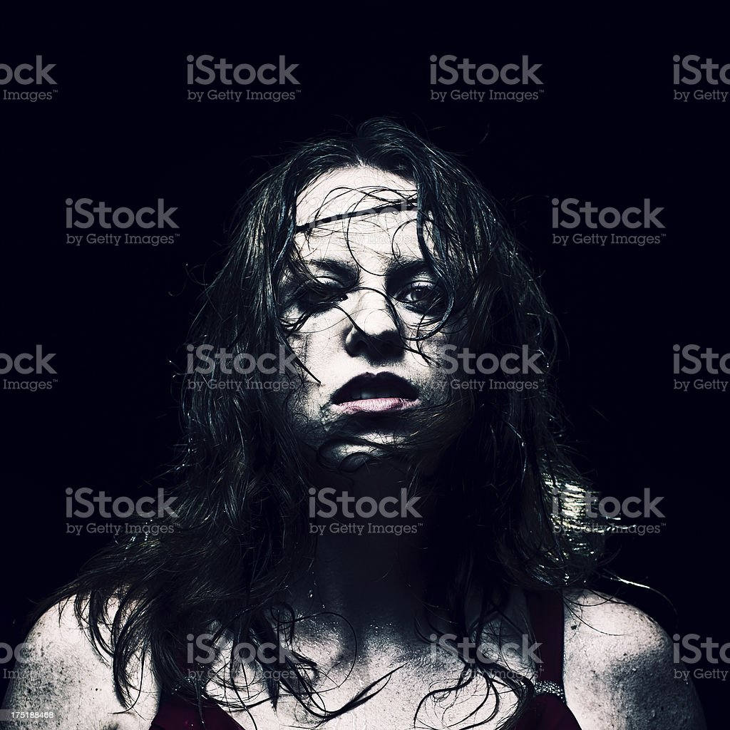 Portrait of a Mad Woman royalty-free stock photo