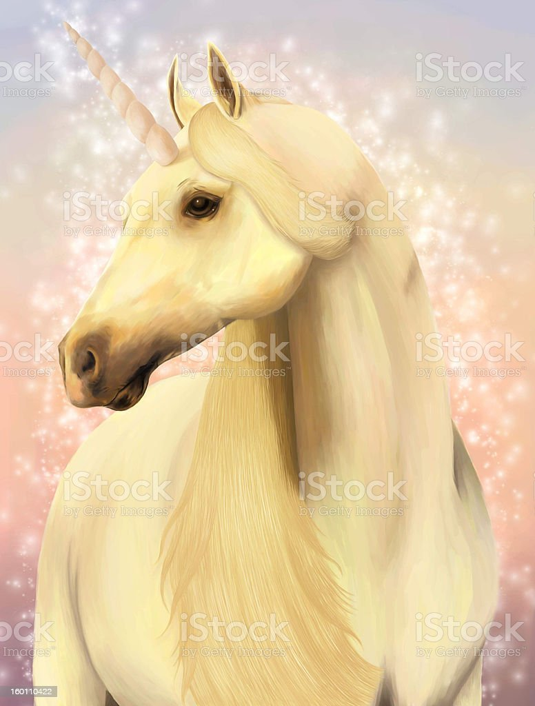 Portrait of  a magic unicorn. stock photo