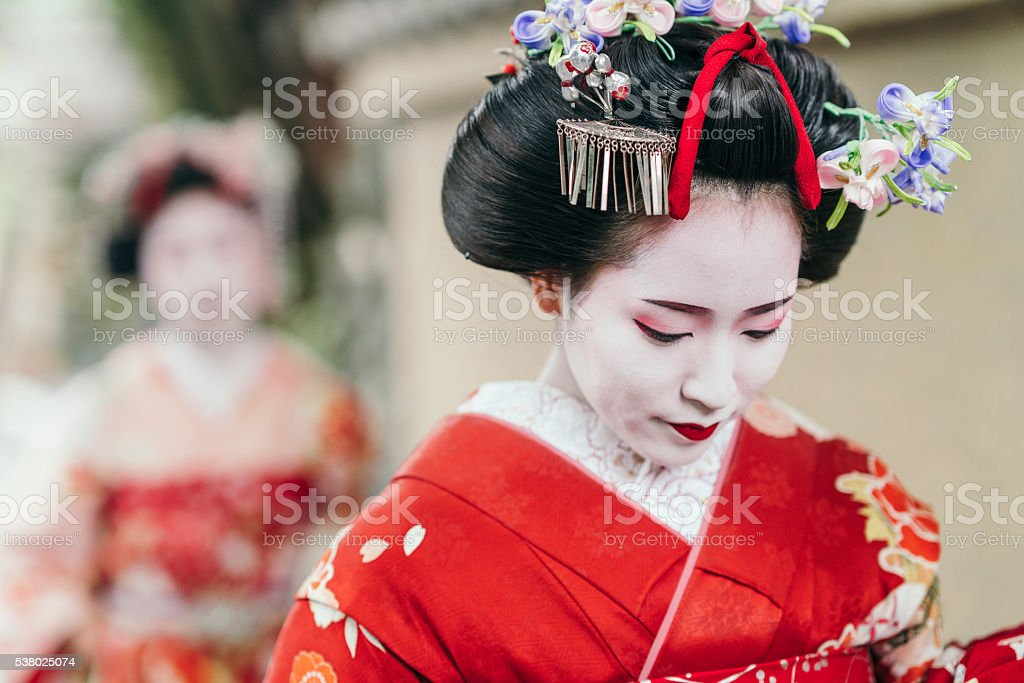 Portrait of  a Maiko geisha in Gion Kyoto stock photo