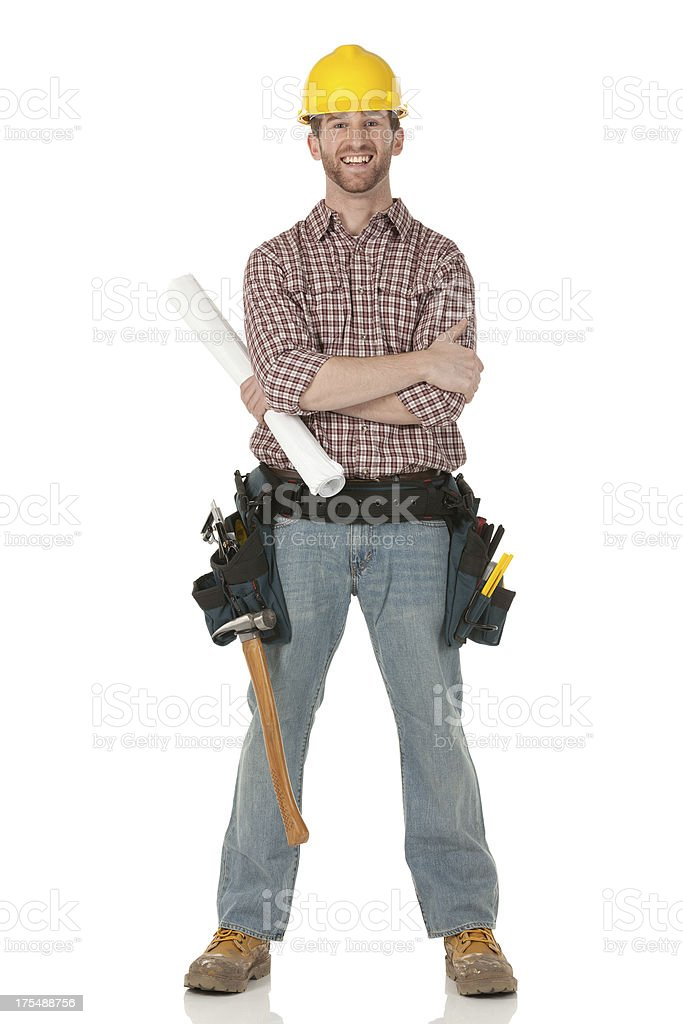 Portrait of a maintenance engineer with blueprint royalty-free stock photo