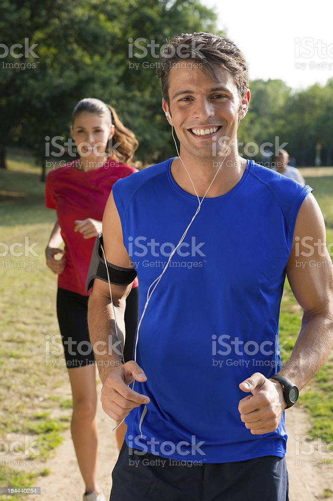 Portrait Of A Male Jogger Listening Music royalty-free stock photo
