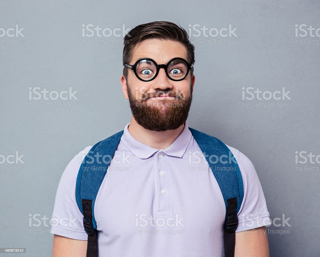 Portrait of a male nerd with funny face stock photo