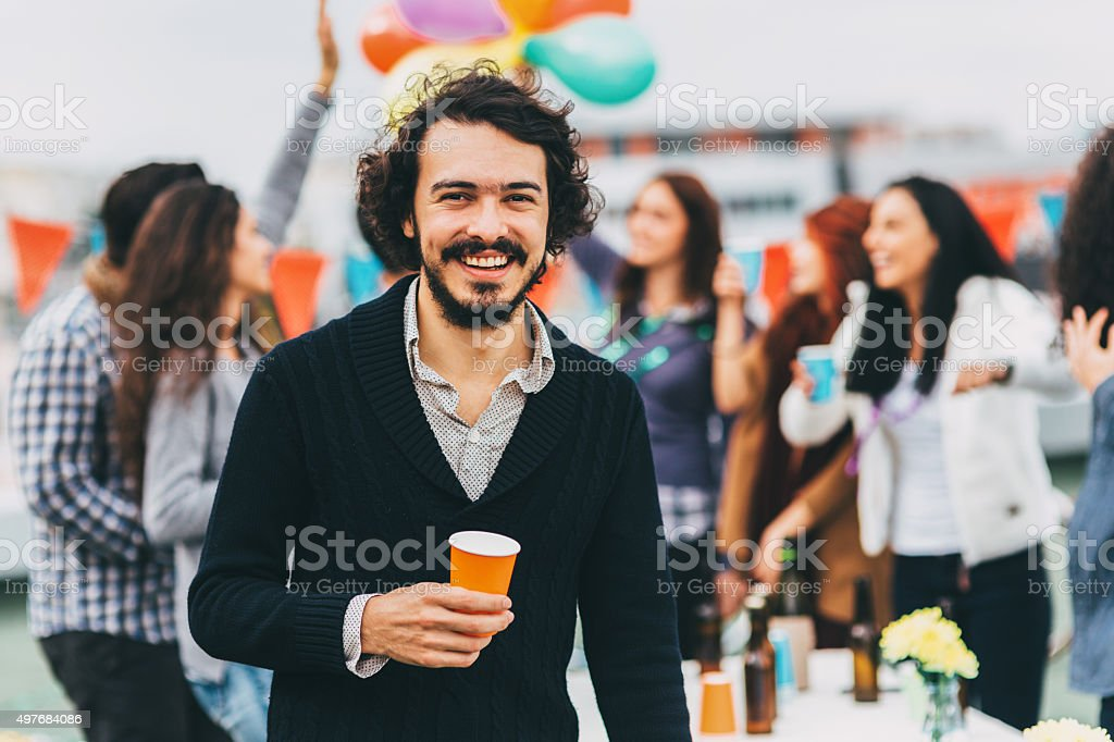 Portrait Of A Man At Party stock photo