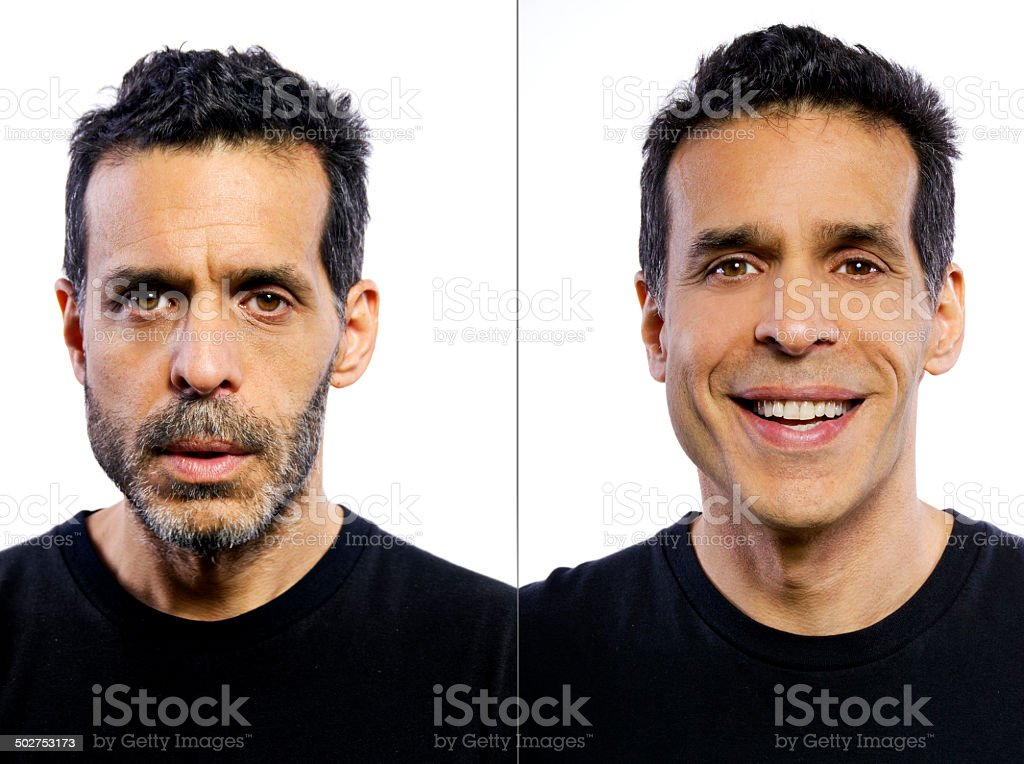 Portrait of a man before and after being groomed stock photo