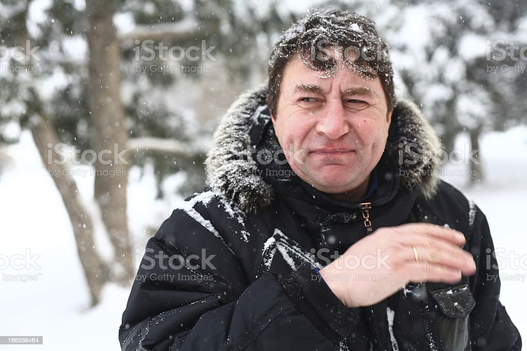 Portrait of a man cover by snow royalty-free stock photo