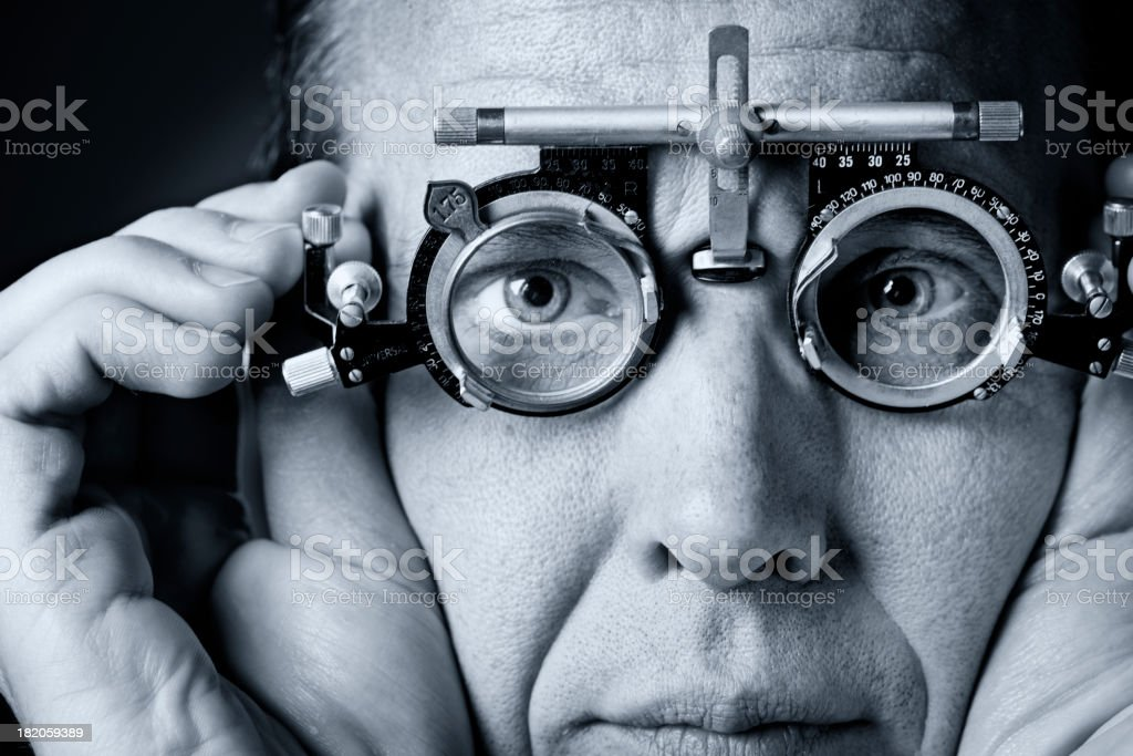 Portrait of a Man Having An Eye Test stock photo