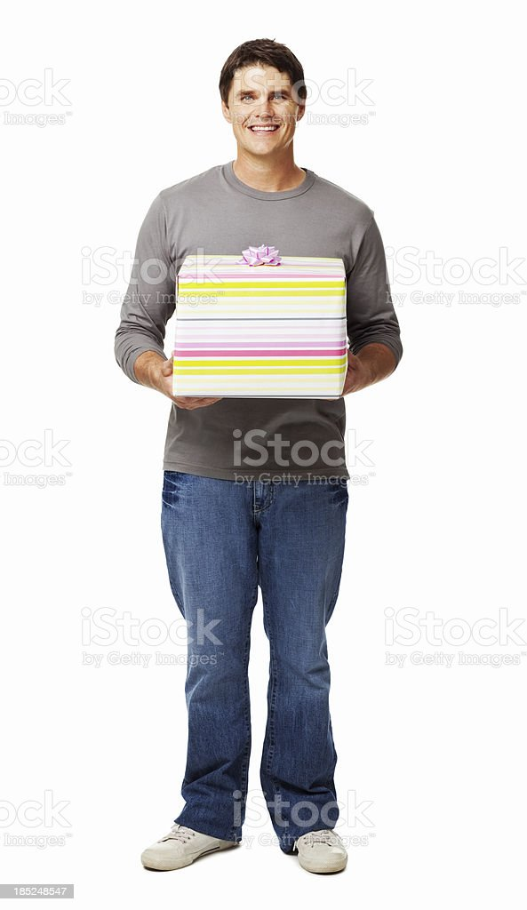 Portrait Of a Man Holding Gift Box - Isolated stock photo