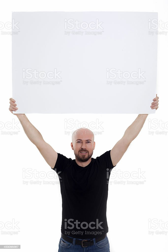 Portrait of a man holding white blank card 1 stock photo