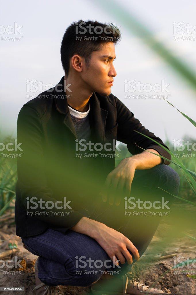 Portrait of a man in a black jacket suit stock photo