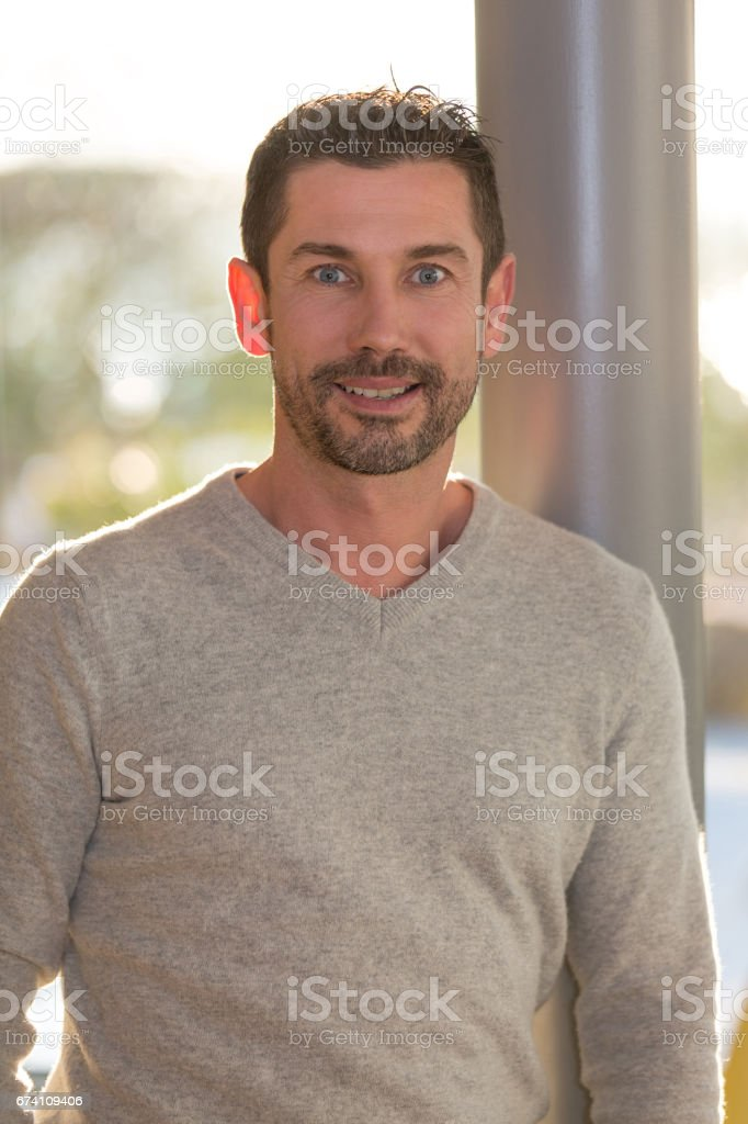 Portrait of a man in a restaurant stock photo