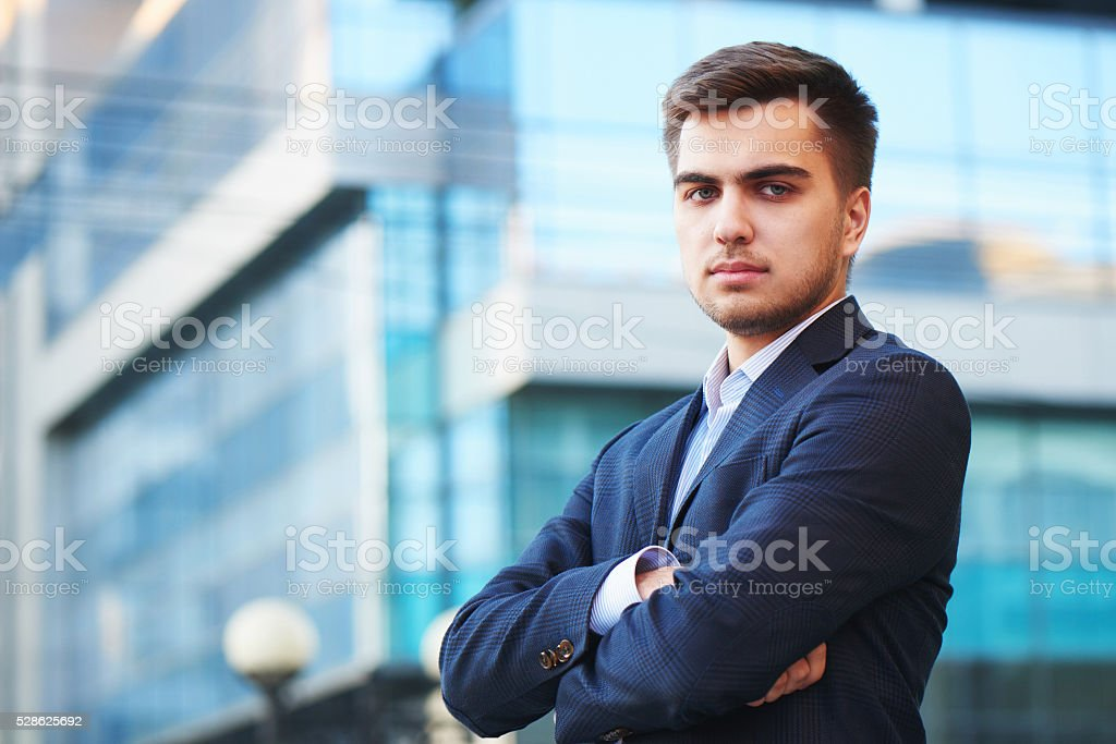 Portrait of a man in a suit stock photo
