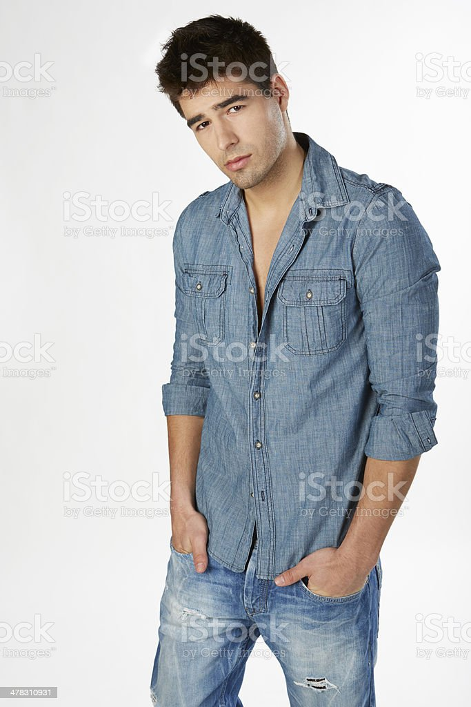 Portrait of a man in casual jeans royalty-free stock photo