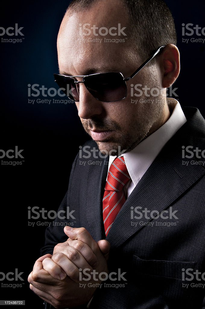 Portrait of a man in dark grey suit stock photo