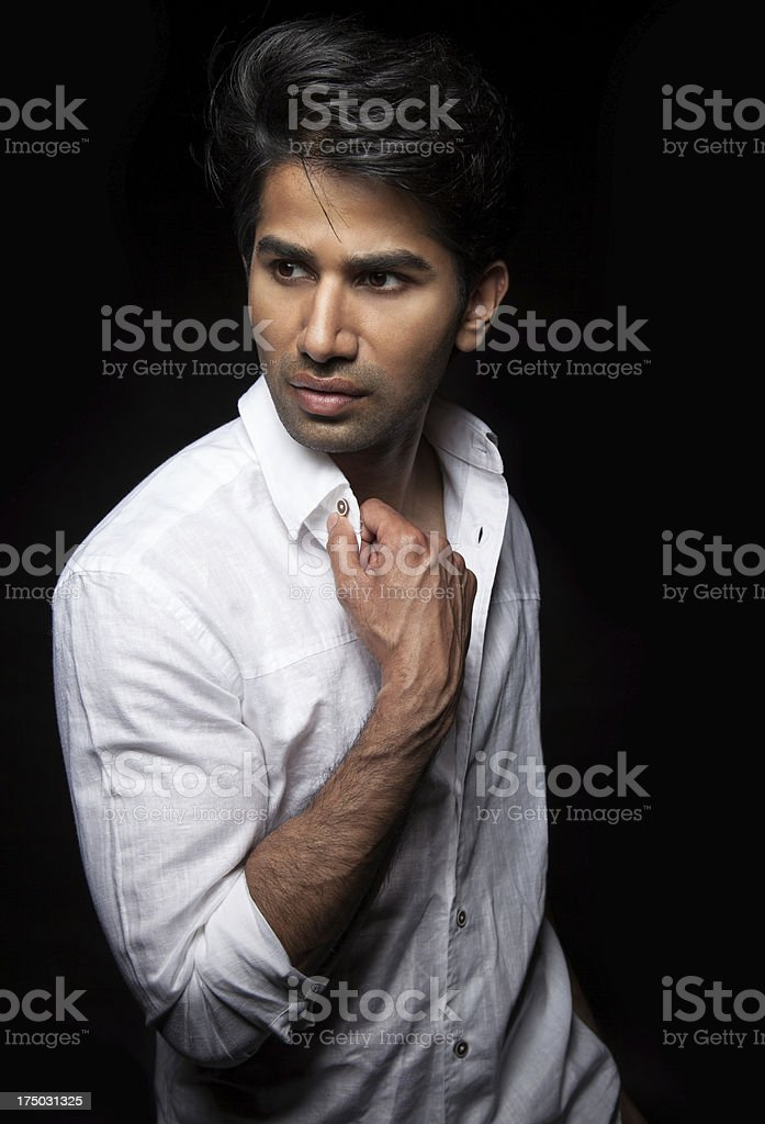 Portrait of a man on black background stock photo