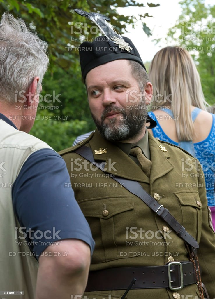 Portrait of a man Scottish warrior stock photo
