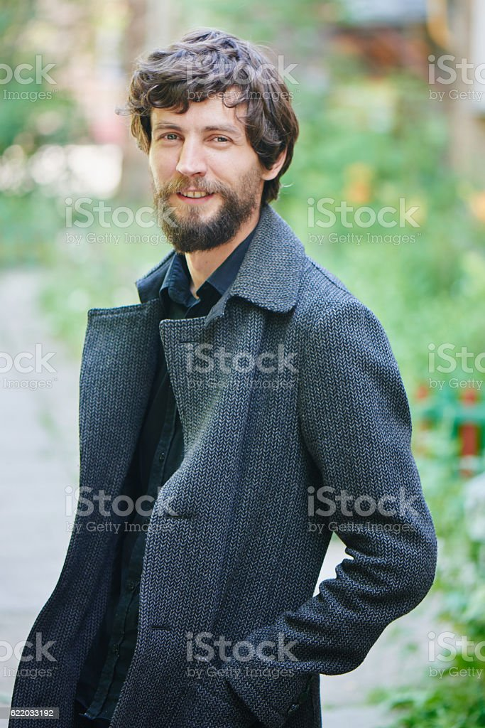 Portrait of a man with a beard stock photo