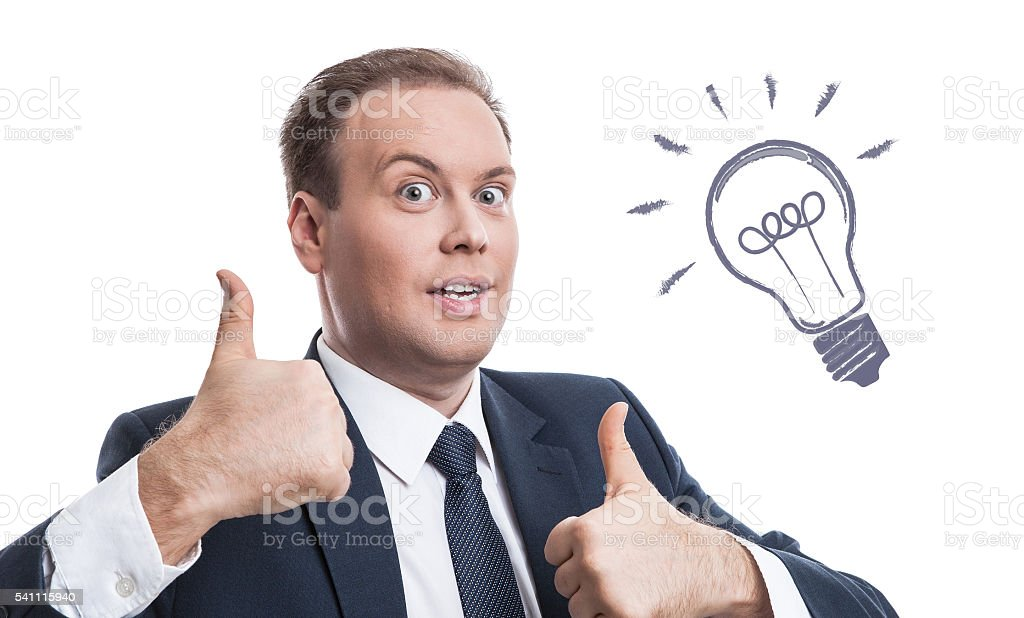 portrait of a man with an idea on a white stock photo