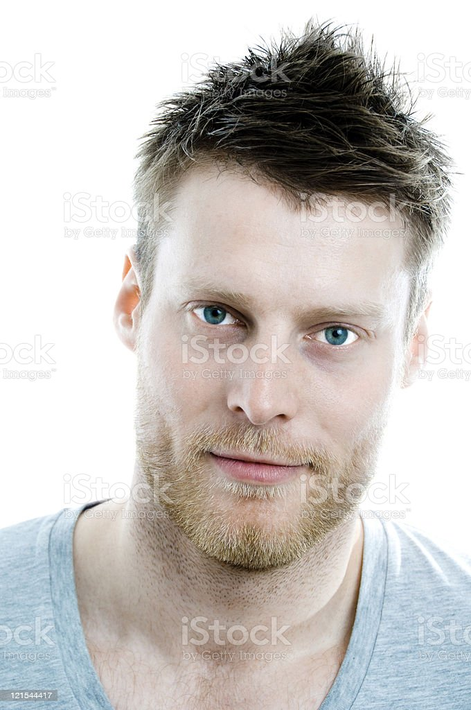 Portrait of a man with beard isolated on white royalty-free stock photo