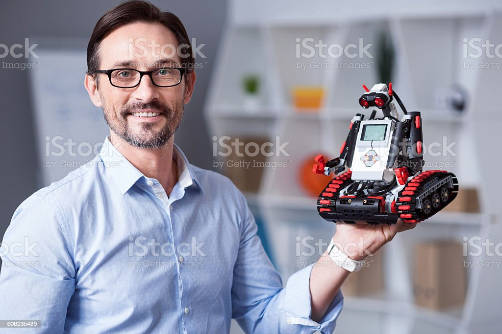 Portrait of a man with  droid stock photo