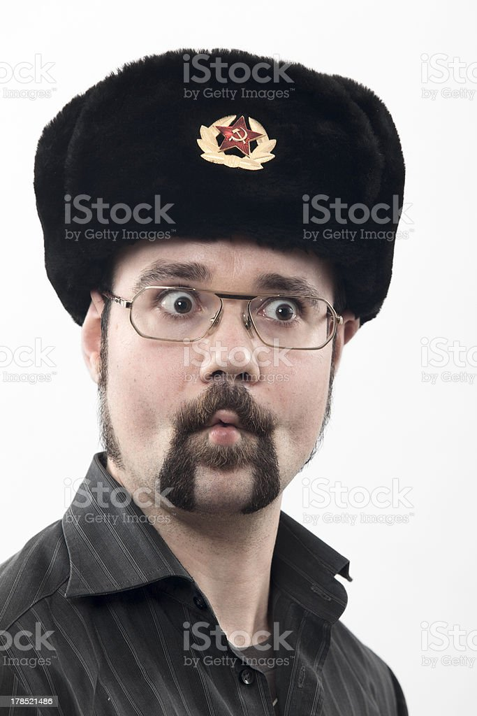 portrait of a man with fur hat Communist royalty-free stock photo