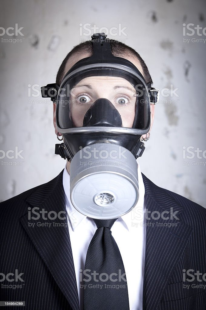 Portrait of a man with gas mask royalty-free stock photo