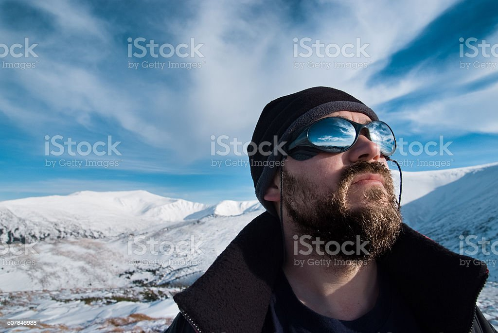 Portrait of a man with glasses and a beard stock photo
