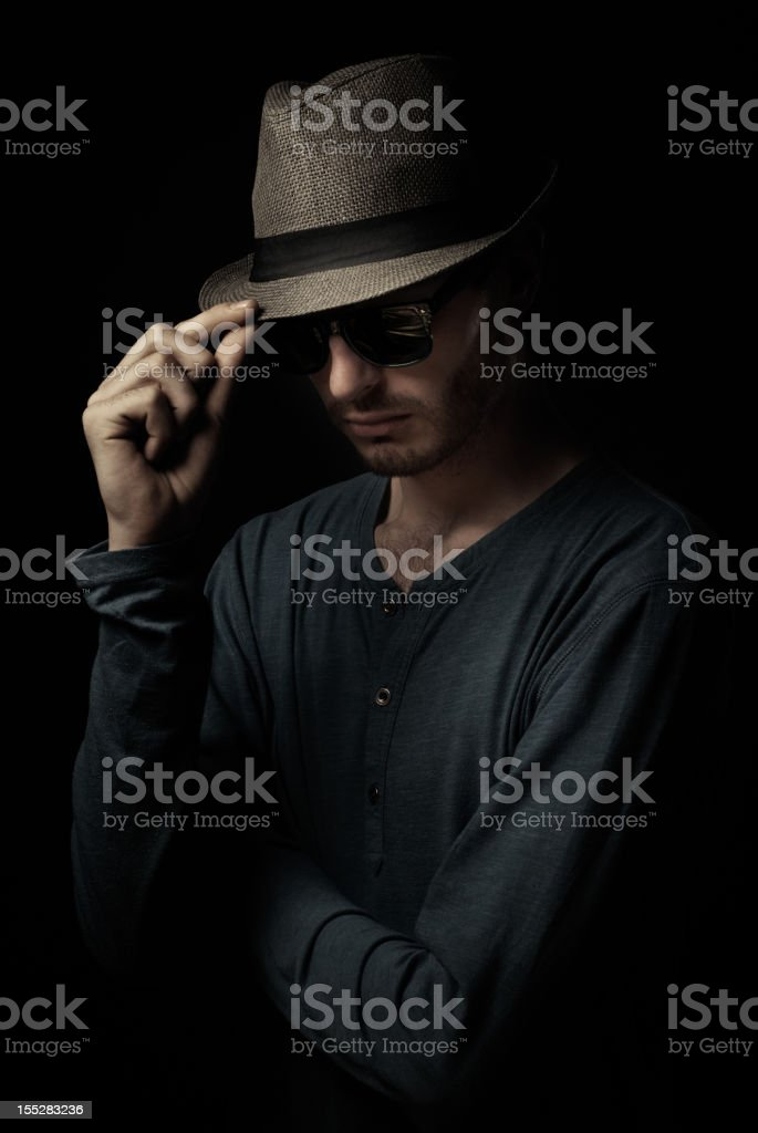 Portrait of a Man with Hat stock photo