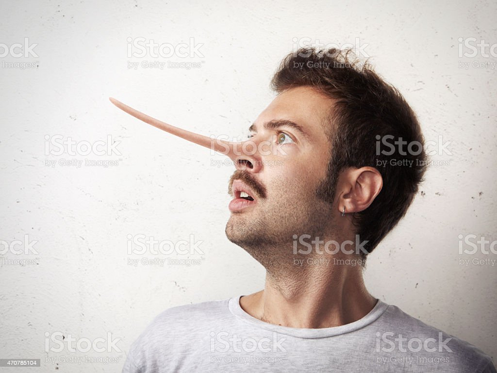 Portrait of a man with long nose stock photo
