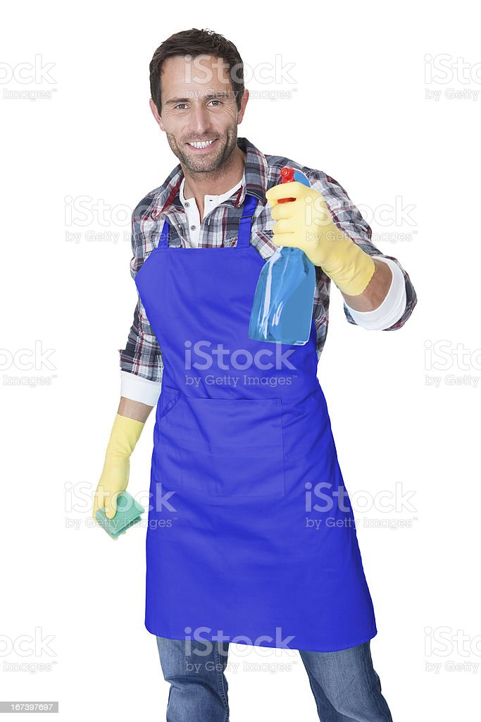 Portrait of a man with sponge and spray royalty-free stock photo