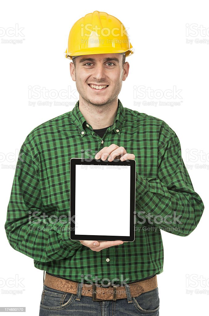 Portrait of a Manual worker showing his digital tablet royalty-free stock photo