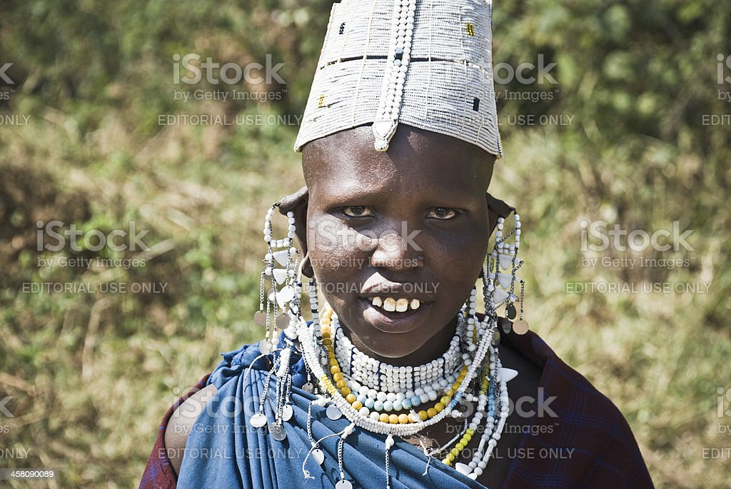Portrait of a Masai woman royalty-free stock photo