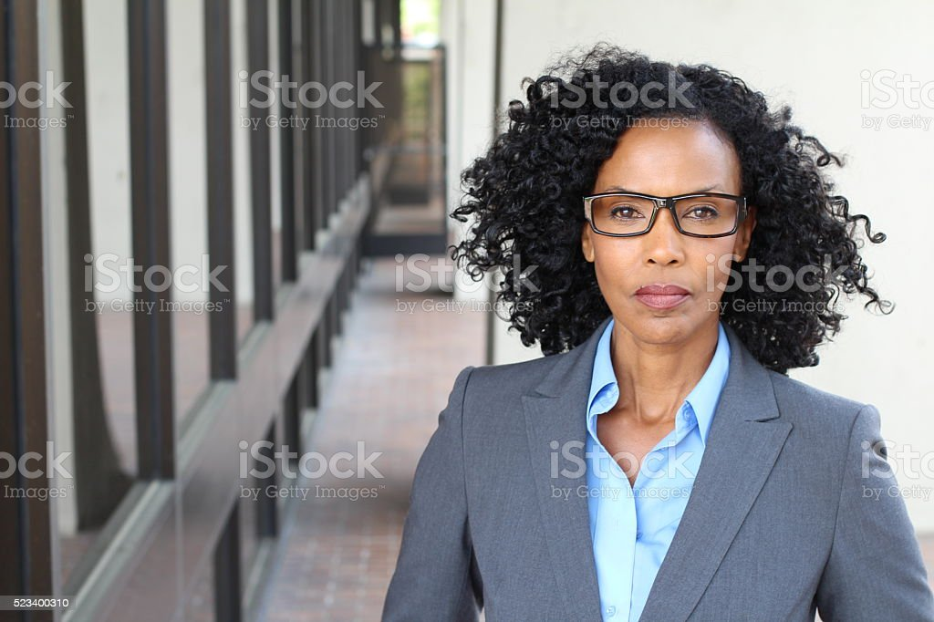 Portrait of a mature businesswoman taken outside stock photo