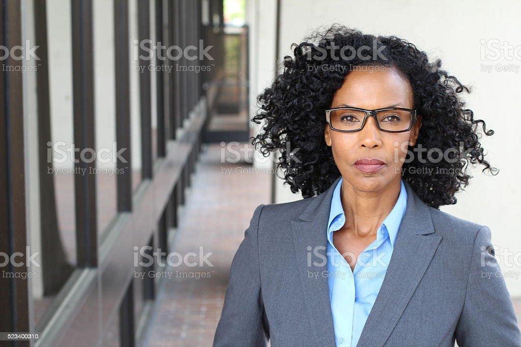 Portrait of a mature businesswoman taken outside stock photo