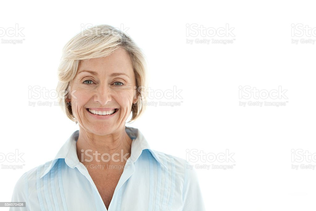 Portrait of a mature Caucasian woman stock photo