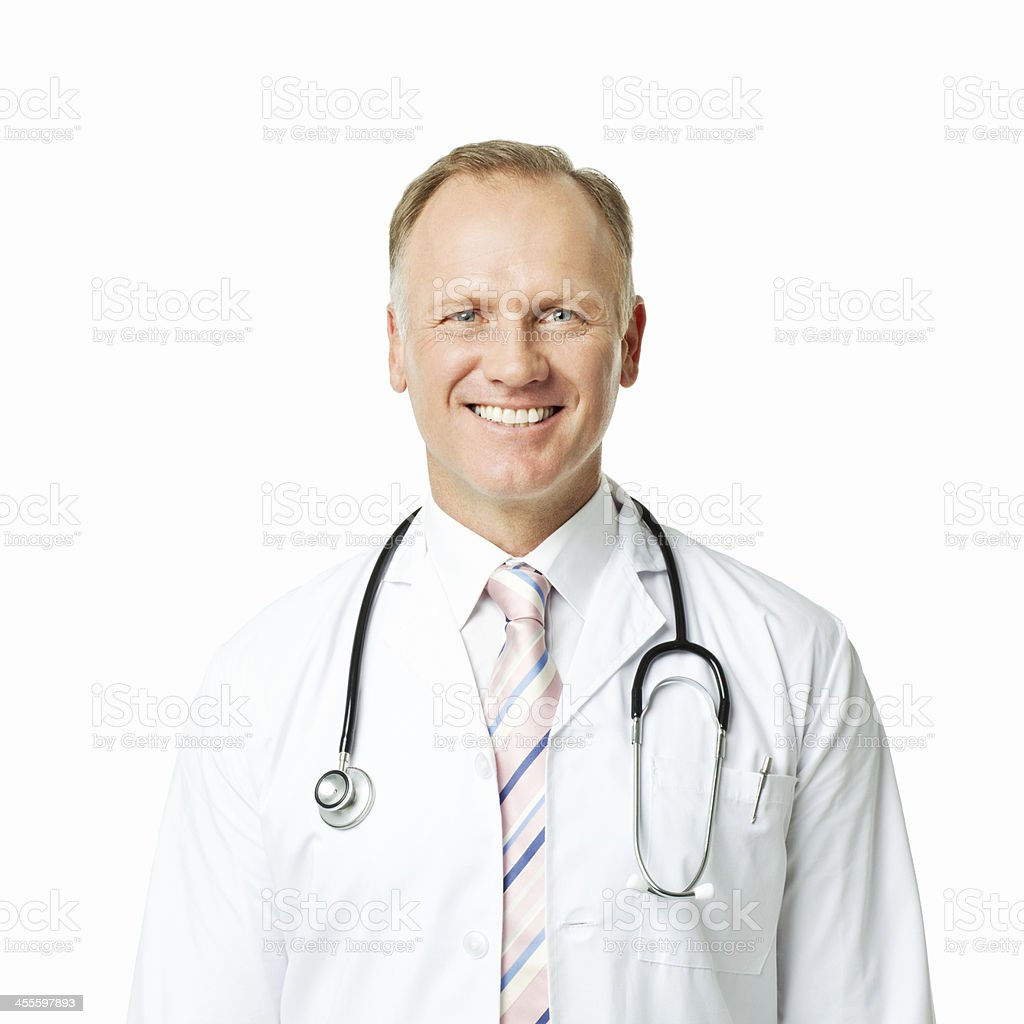 Portrait of a Mature Doctor - Isolated royalty-free stock photo