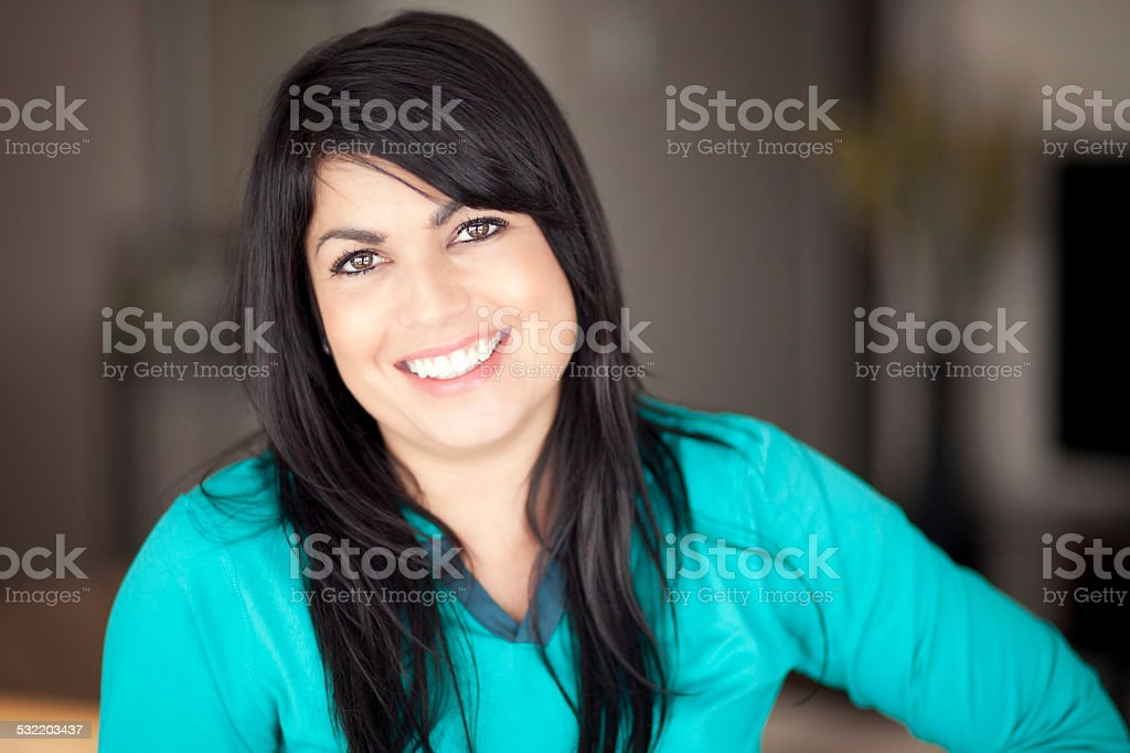 Portrait Of A Mature Woman smiling at the camera stock photo