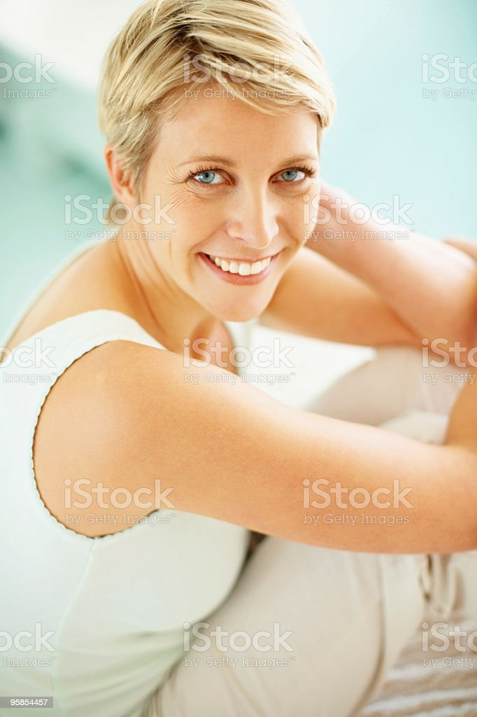 Portrait of a mid adult woman smiling royalty-free stock photo