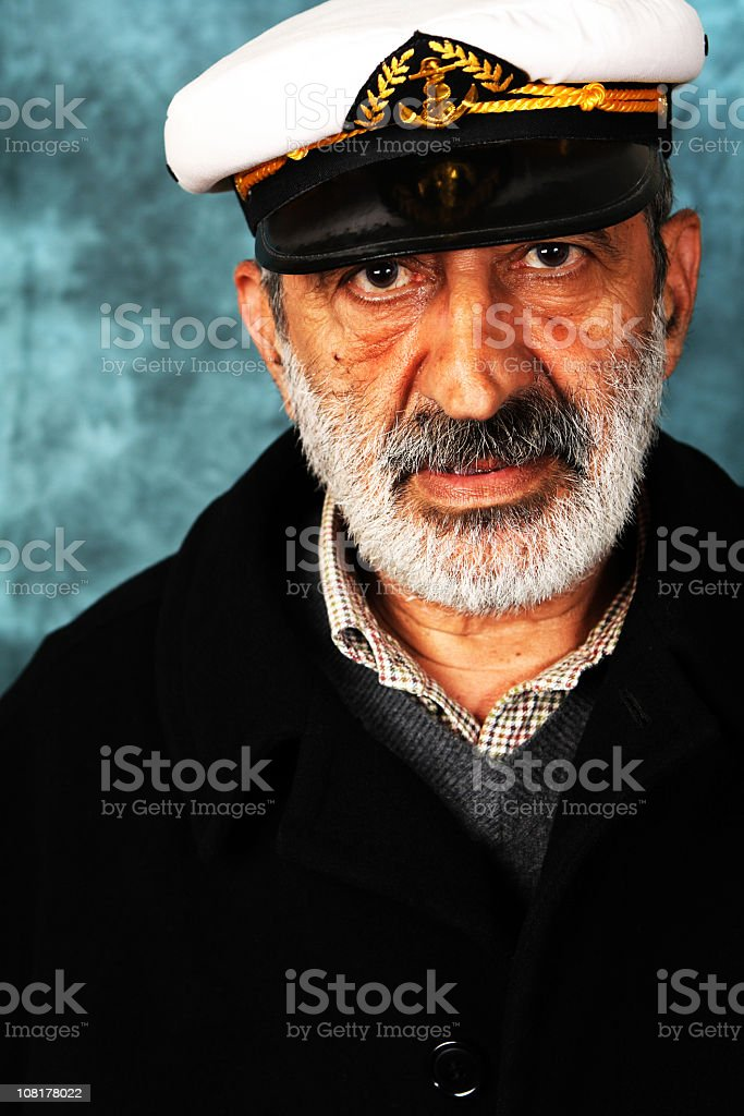 Portrait of a middle-aged male sailor in uniform stock photo