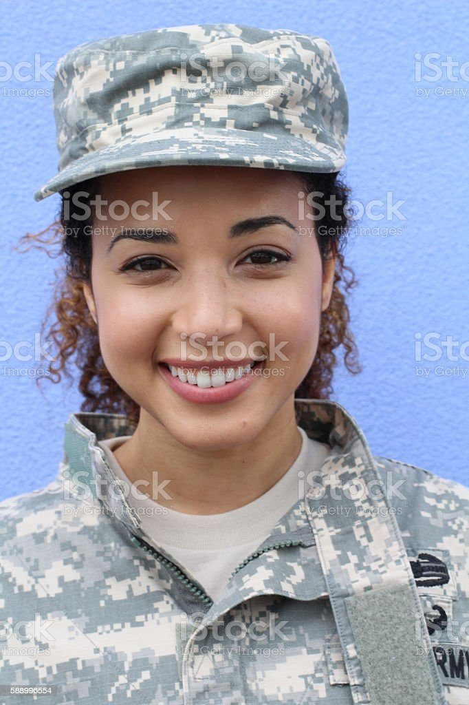Portrait of a military ethnic army woman stock photo