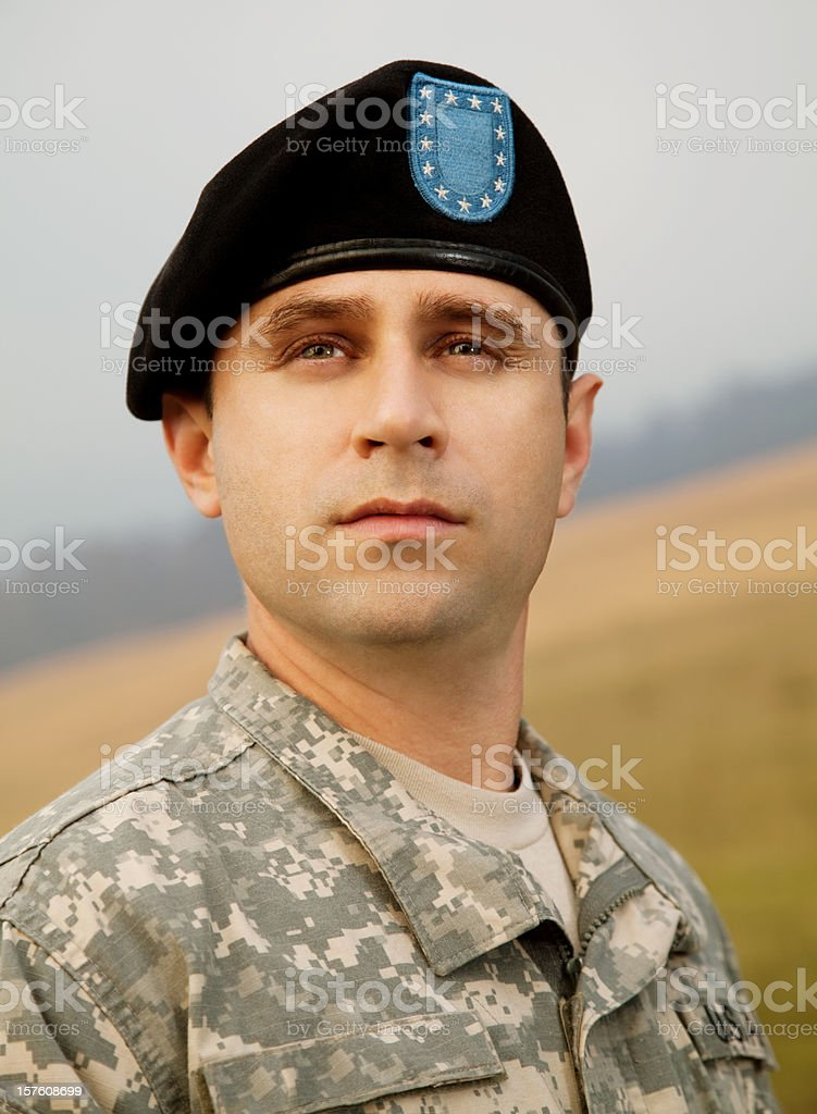 Portrait of a military soldier stock photo