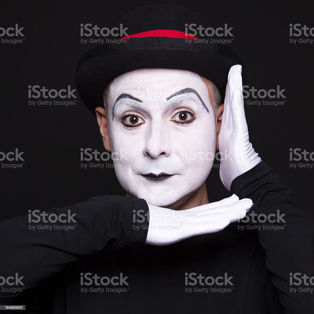 Portrait of a mime artist performing stock photo