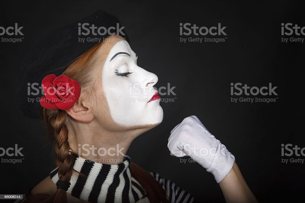 Portrait of a mime girl royalty-free stock photo