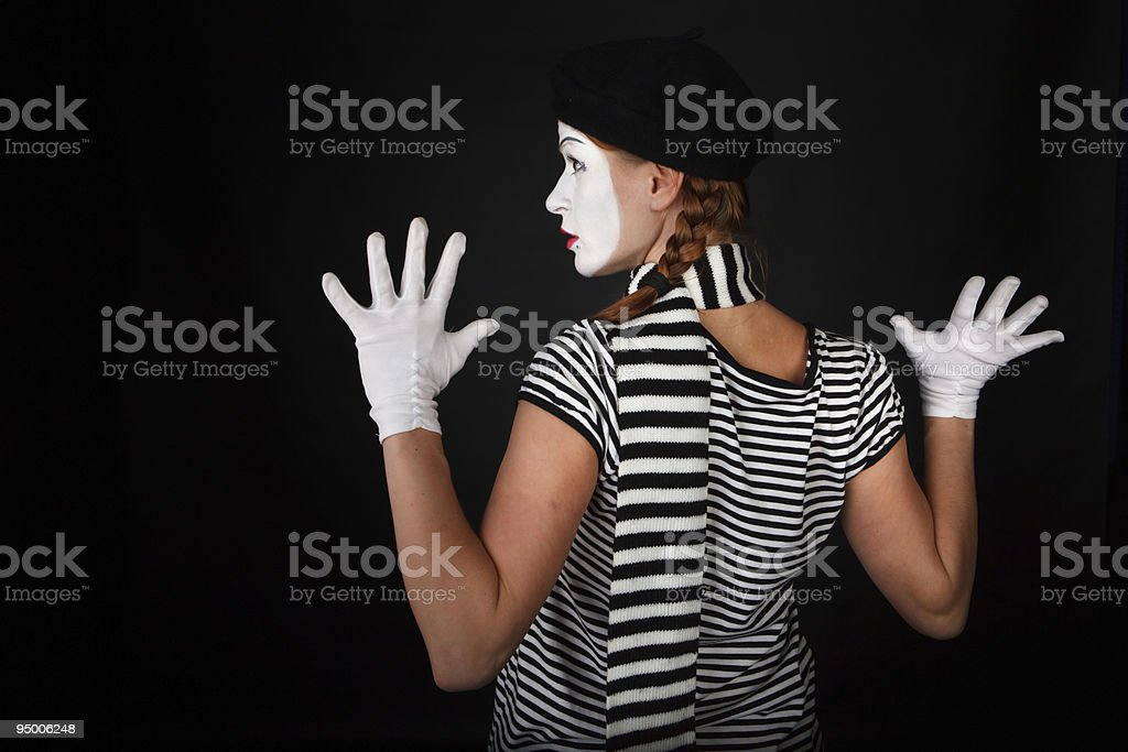 Portrait of a mime girl stock photo